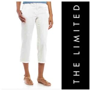 The Limited White Crop Capris Stretch Pants